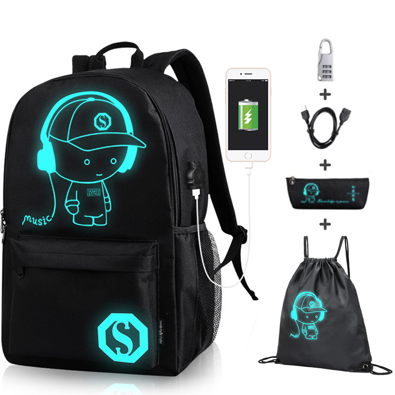 Anime Luminous Oxford School Backpack Daypack Shoulder Under 15.6 Inch With USB Charging Port And Lock School Bag For Boy Black(China)