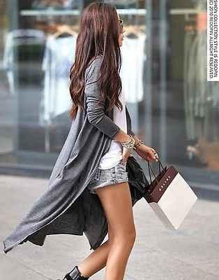 חדש לנשים שרוול ארוך סריגים קרדיגן Loose סוודרים להאריך ימים יותר מעיל מעיל ארוך