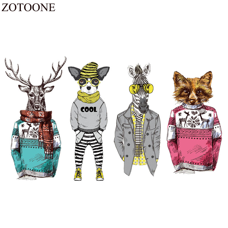 ZOTOONE Iron On Animal Patches For Clothes Sticker DIY T shirt Heat Transfer Applique Fabric Deer Patch Zebra Decoration Badge in Patches from Home Garden