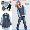 Novo estilo de moda crianças conjunto blazer terno do casamento crianças jaquetas de algodão blazer ternos para bebés 3 pics/set