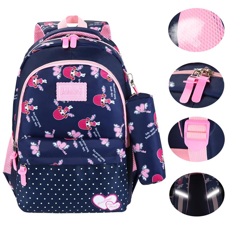 Vbiger Cute Backpack Shoulders-Bag Teenager Girls Nylon with Reflective-Strip for Primary