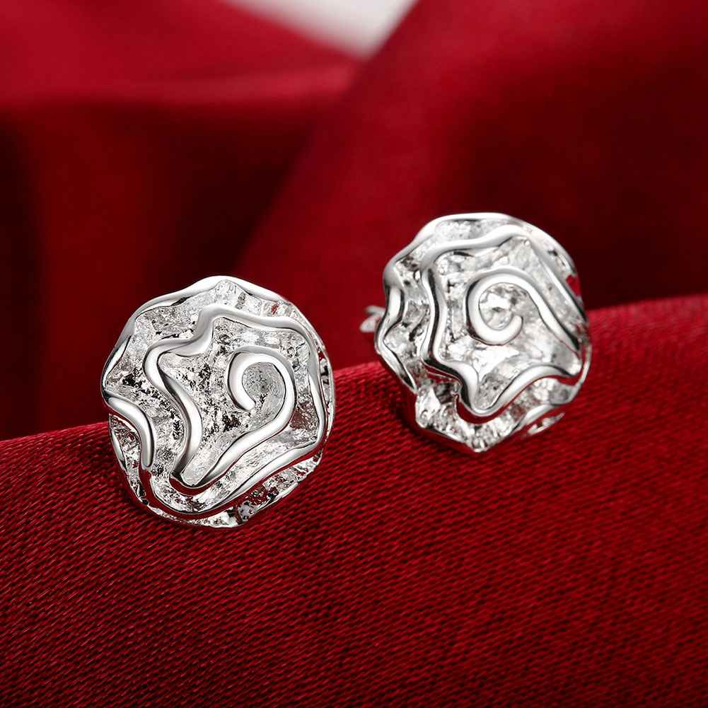 hot sell aliexpress Wholesale fashion jewelry  silver earrings for women Cute Rose stud earings  prices in euros SMTE003