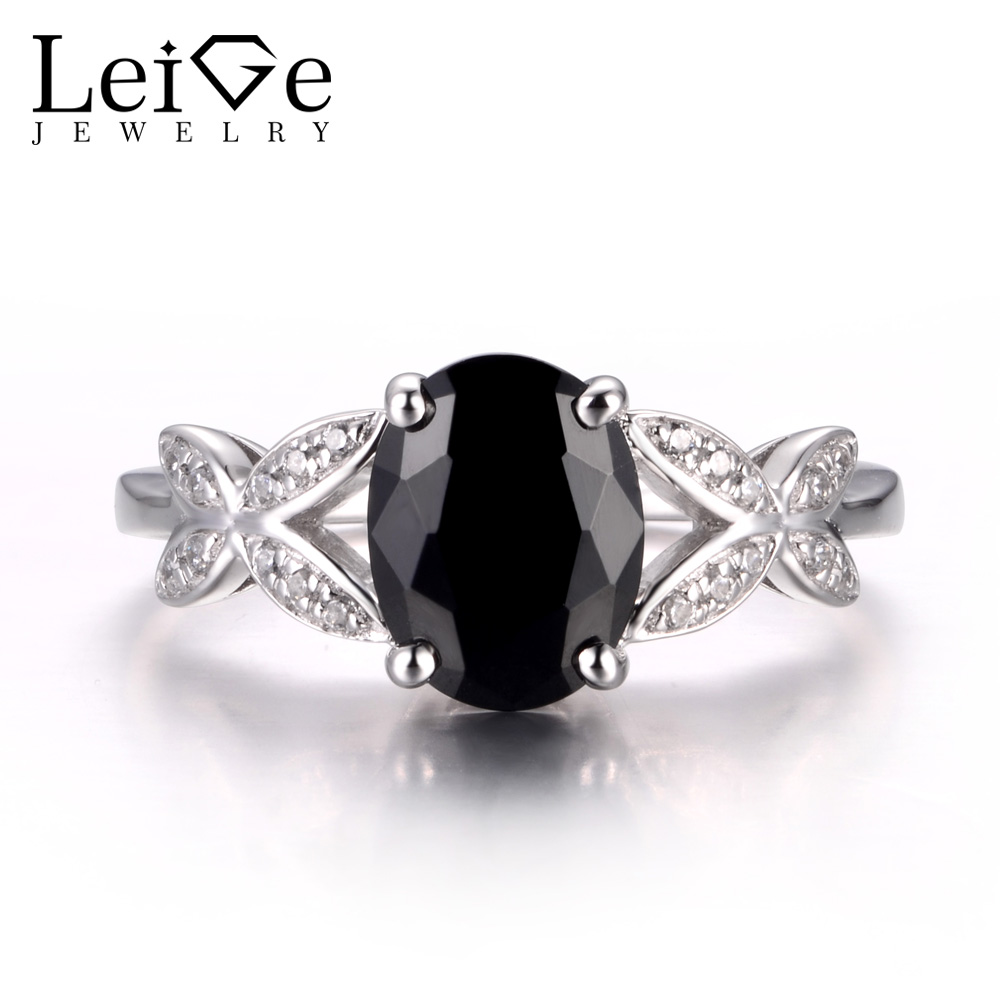 LeiGe Jewelry Natural Black Spinel Rings Engagement Rings Oval Cut Black Gemstone Ring Real 925 Sterling Silver Customized RingsLeiGe Jewelry Natural Black Spinel Rings Engagement Rings Oval Cut Black Gemstone Ring Real 925 Sterling Silver Customized Rings