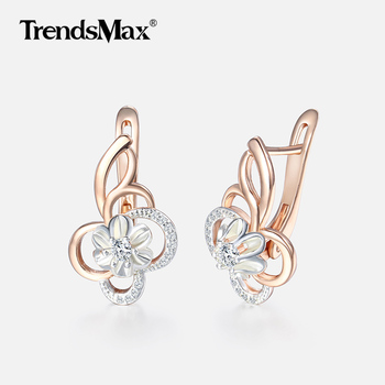 Flower Earrings For Women 585 Gold Filled Cubic Zirconia Earrings Engagement Wedding Party Woman Jewelry Valentines Gifts KGE131 585 rose gold colorful cubic zirconia dangel earrings fashion brand engagement earrings jewelry for women wedding party jewellry