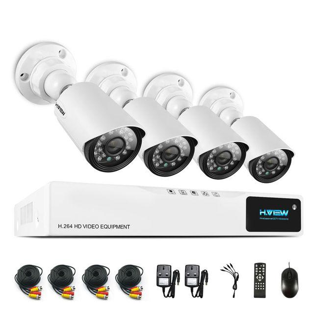 H. View 720 P CCTV Sistema de Cámaras de Seguridad CCTV Sistema de Cámaras de CCTV 4CH AHD DVR 4*720 P Cámara de Seguridad Fácil de Teléfono Inteligente acceso