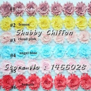 Image 5 - 15 10yards/lot, 2.5 polegada gasto chiffon flores, bonito chiffon rosa flores para headband headwear acessórios de moda 108 cores