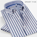 2016 Summer Style Short Sleeve Shirts Smart Five New Style Men's Dress Shirts Plaid Slim Fit Men Shirt 5XL 6XL
