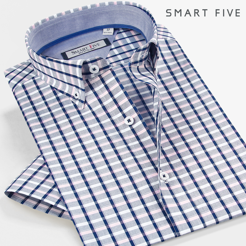 2016 Summer Style Short Sleeve Shirts Smart Five New Style Men's Dress Shirts Plaid Slim Fit Men Shirt 5XL 6XL