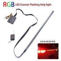 56cm 48 LED 7 Color RGB Car Flashing Strobe Strip Light Kit Flexible Soft Bar Light