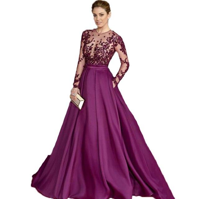 New Design Style Silk Chiffon Purple Prom Long Sleeves Vestido ...