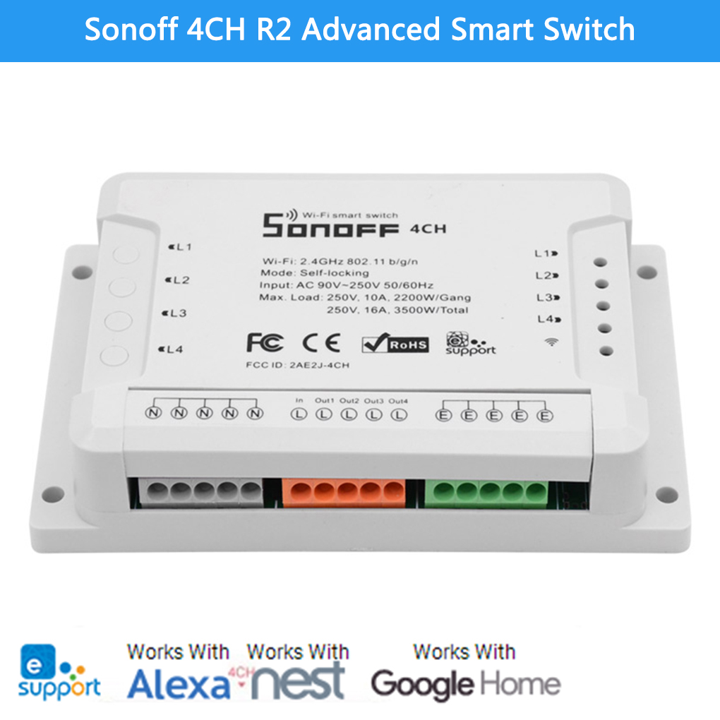 Sonoff 4CH R2 Advanced Smart Switch 4 Channels Wifi Remote Control Smart Switch for Home Appliances centurion smart 1 smart 2 smart 4 replacement remote control
