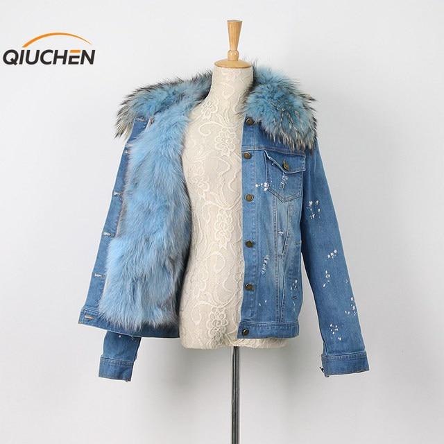 QC8055  QCFURS 2016 NEW  girl's winter jacket denim jacket real fox fur lining jacket with real raccoon fur collar fashion hot