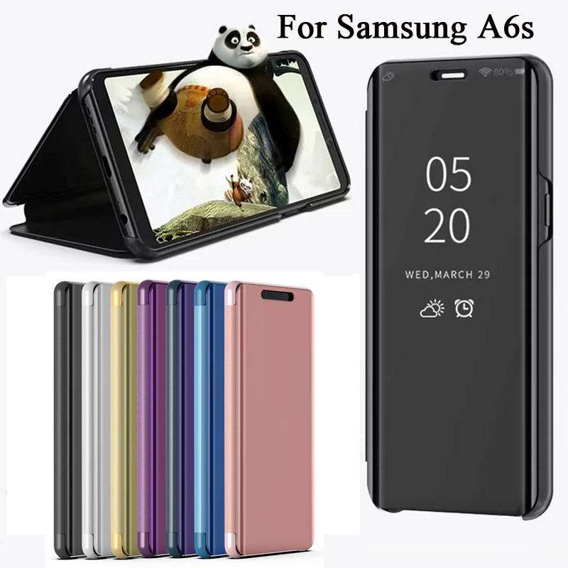 Flip Mirror Case For Samsung Galaxy A6s Case Smart Mirror Leather Cover Clear View Window For Samsung A6s Cover Funda A8 Plus