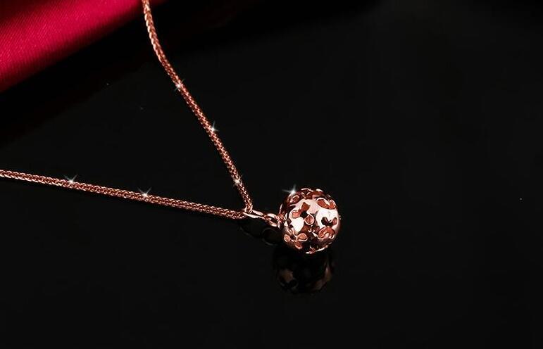 New Pure AU750 Rose Gold Hollow Ball Necklace Pendant Chain Length 45cm 45cm l pure rose gold chain necklace italy wheat chain necklace 4g hot sale