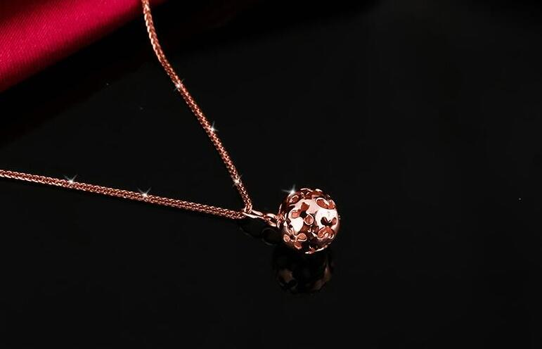 New Pure AU750 Rose Gold Hollow Ball Necklace Pendant Chain Length 45cm