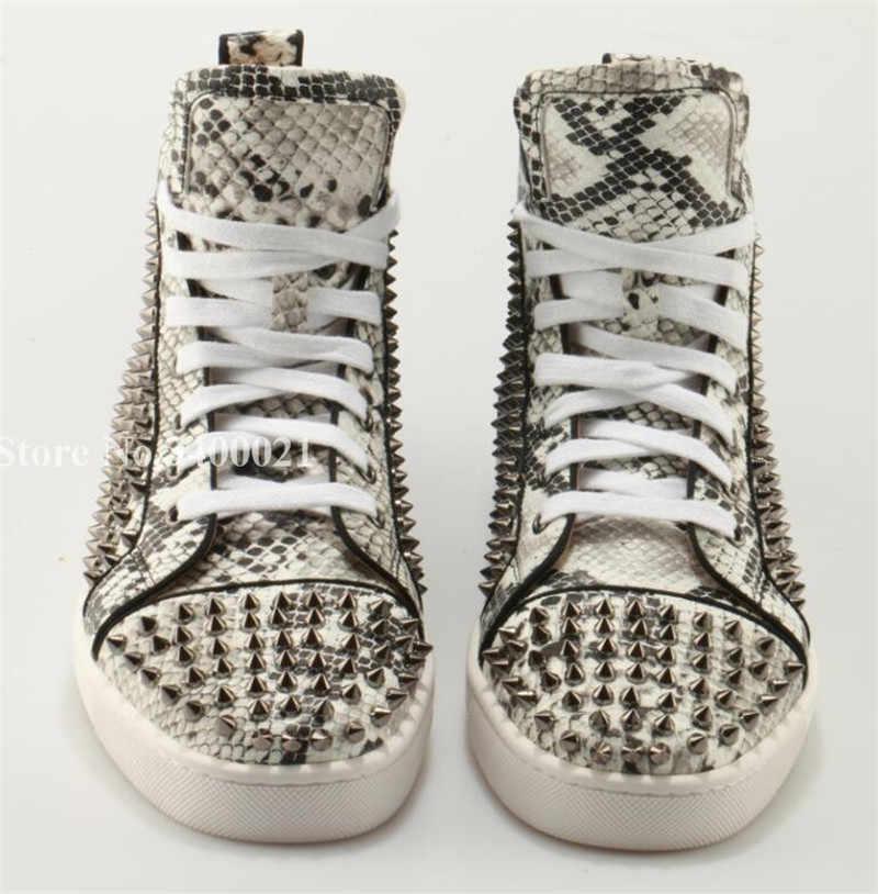 52b07a646 ... Лидер продаж мужская обувь золотого/серебряного цвета с заклепками и  шипами змеиной кожи Туфли без ...
