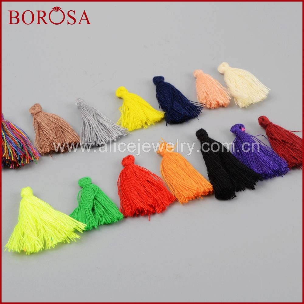 BOROSA 200PCS Rainbow Thread Silk Tassel Charm for Making Pendants Earrings Necklaces Mixed Tassel Findings Jewlery Making PJ064