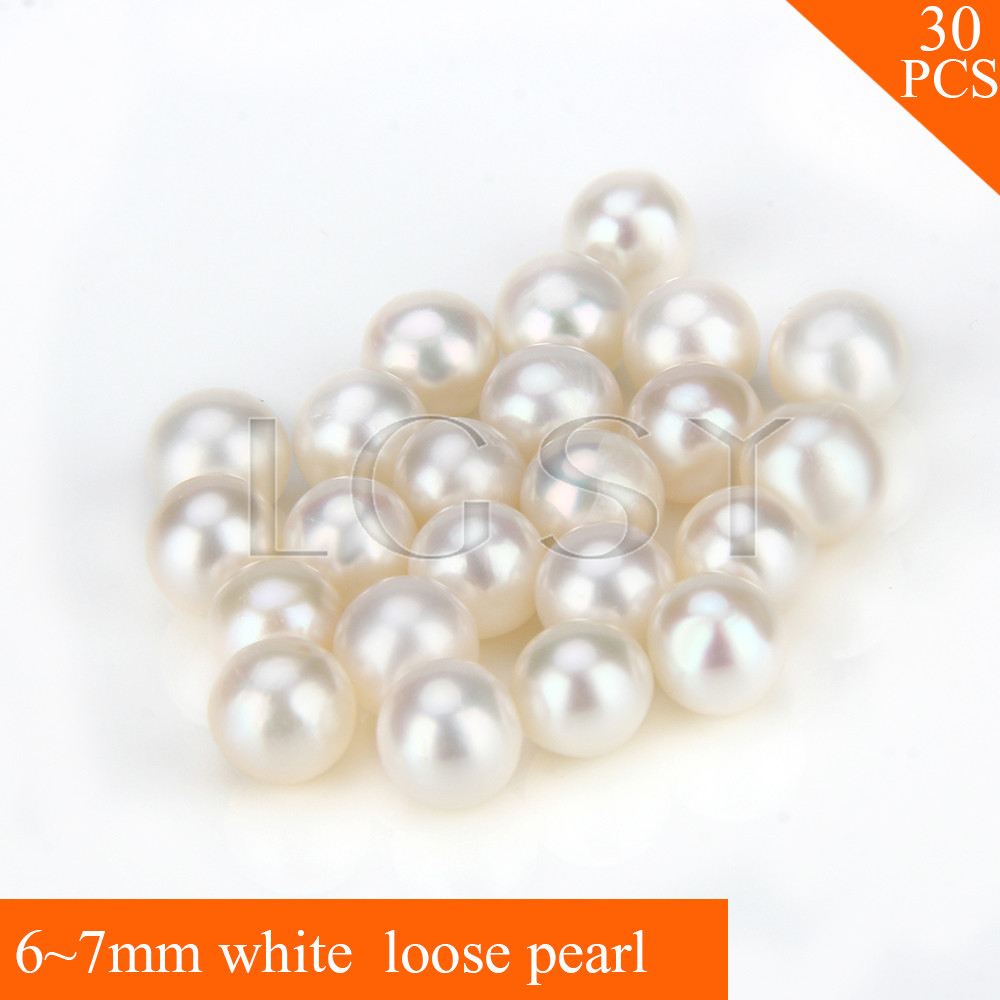 FREE SHIPPING, 6-7mm AAA white saltwater round akoya pearls 30pcs cluci free shipping get 40 pearls from 20pcs 6 7mm aaa blue round akoya oysters twins pearls in one oysters