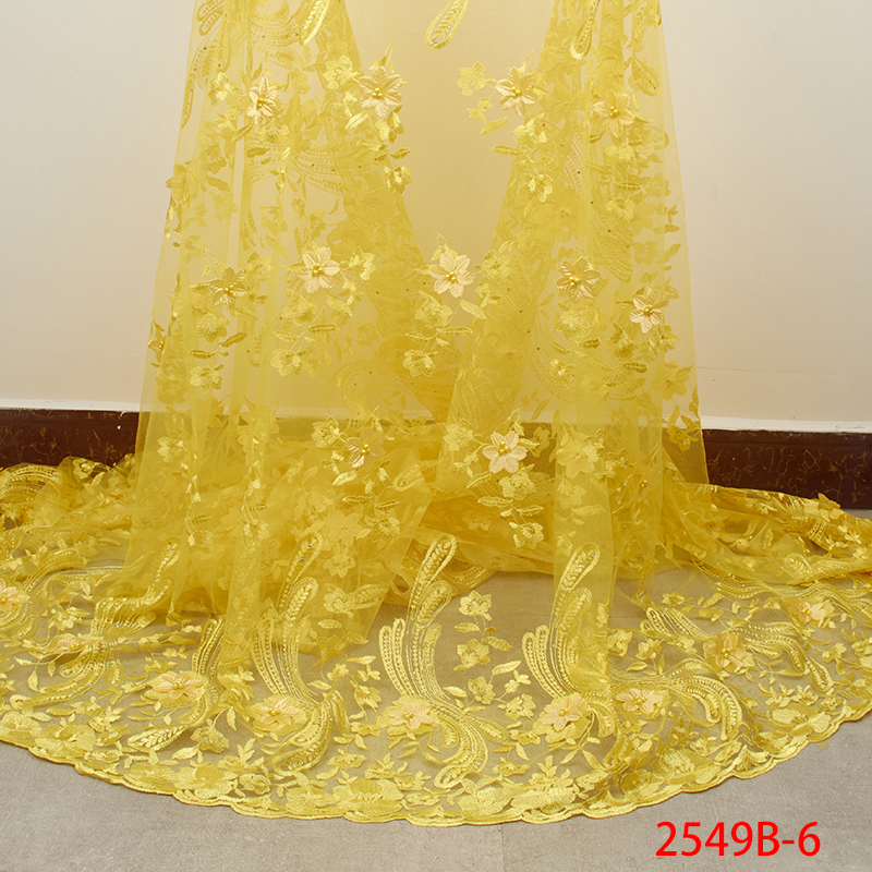 3D Flower Lace Fabric with Beads High Quality 2019 French Mesh Lace Fabric Nigerian Tulle Lace