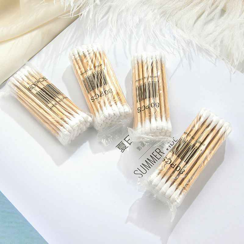 30Pcs/Bag Medical Disposable Double-Headed Cotton Buds Swab Wooden Sticks Ear Nose Cleaning Health Care Makeup Tools