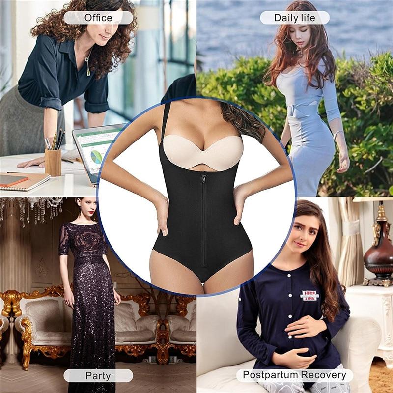NINGMI Slimming Body Shaper Women Bodysuit Waist Trainer Tummy Firm Control Shapewear Slim Rubber Latex G-string Underbust Dress