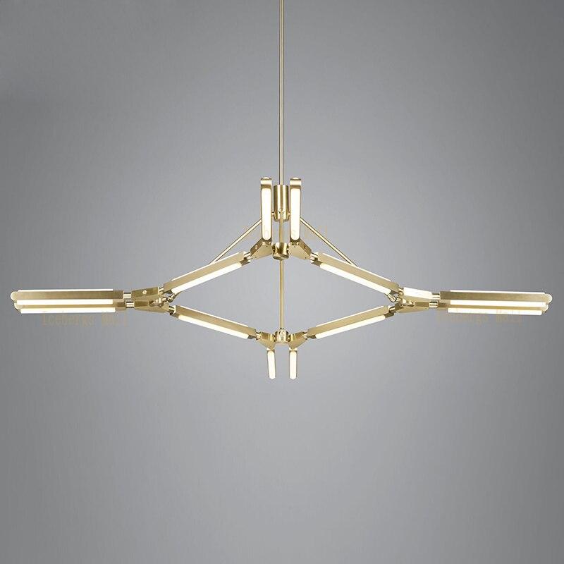 Nordic PRIS Baton Aluminum LED Chandelier Lighting Modern Golden Chandeliers Sitting Room Dining Room Bedroom LED