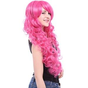 Image 3 - L e mail perücke Marke Neue 80cm Rosa Cosplay Perücken Little Pony Wärme Beständig Synthetische Haar Perucas Cosplay Perücke