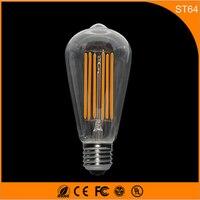 50 шт. Ретро Винтаж edison e27 b22 светодиодные лампы, ST64 6 Вт накаливания светодиодные Стекло свет лампы, теплый белый Энергосберегающая Лампы для