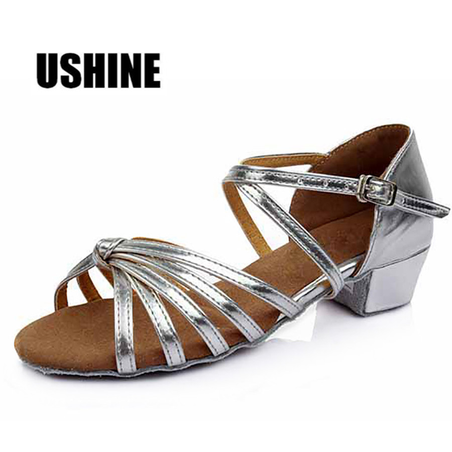 Golden Silver Brown Beige Satin Tango Latin Dance Shoes For Girls Woman Zapatos Salsa Mujer 602 Free Shipping