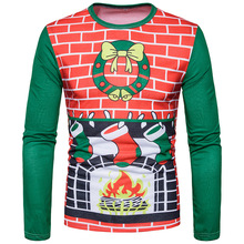 Autumn and winter hot new fashion, 3D fireplace socks, Christmas digital printing, large size long sleeved T-shirt CT373