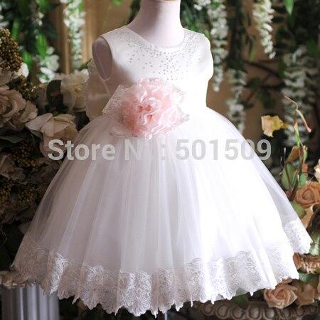 Детская для девочек со стразами и бисером кружевное с вышивкой с оборками и бантом талии Платья для младенцев/партии