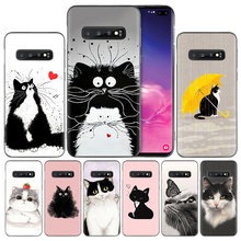 Art Of Black And White Cat TPU Case Cover for Samsung Galaxy A50 A80 A70 A60 A40 A30 A20 A20e A10 A9 A8 A7 A6 Plus 2018 Note 8 9(China)