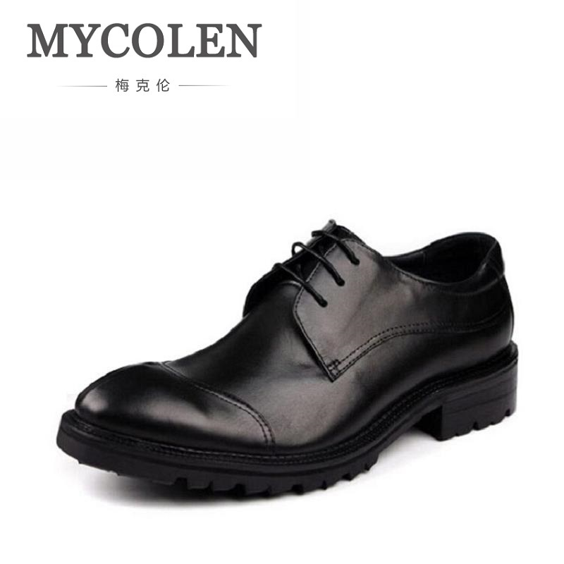 MYCOLEN Mens Genuine Leather Shoes Dress Italian Leather Male Shoes Elevator Glitter Black Brown Business Shoes Four Seasons