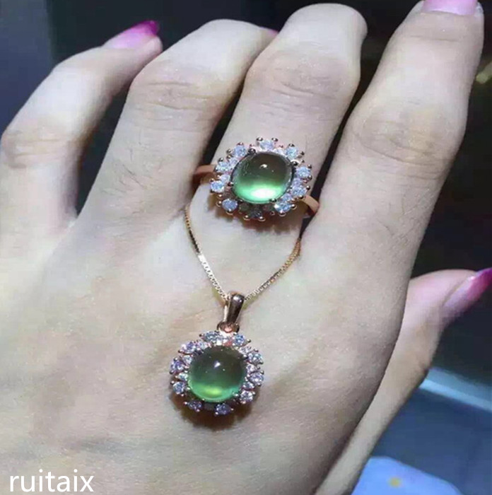 KJJEAXCMY boutique jewels 925 Pure silver inlay natural grape water tender grape stone lady pendant ring set pure natural tender grape stone ring set 925 sterling silver inlay