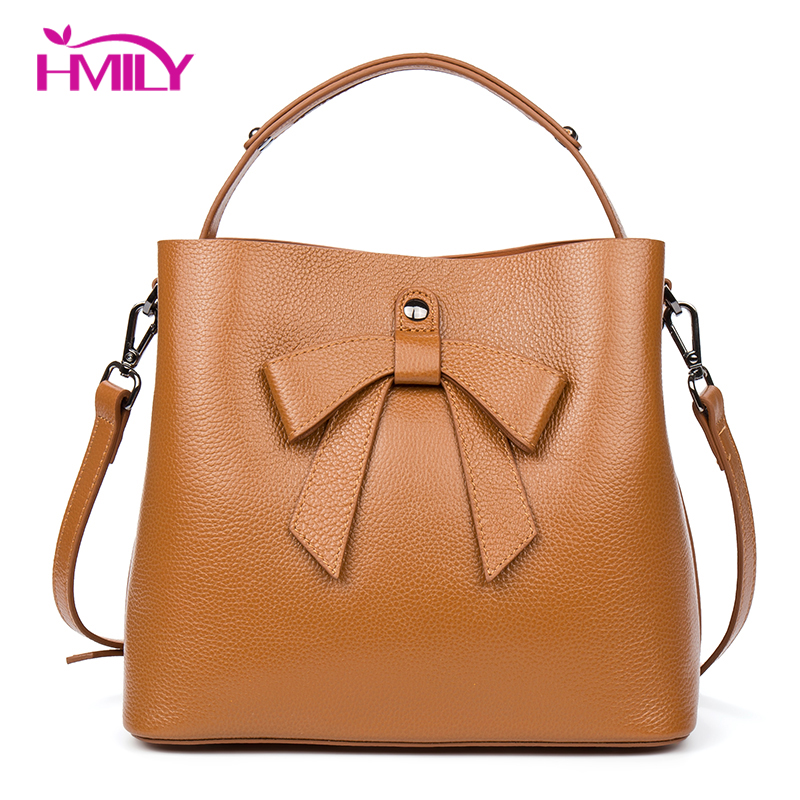 HMILY Women Handbag Genuine Leather Messenger Bag Female Sweet Candy Color Ladies Shoulder Bag Bow-knot Women Bag sweet color matching and bow design women s tote bag