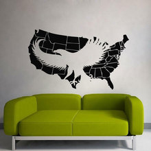 Vinyl wall applique USA map eagle, fashion home living room sticker, childrens decoration DT17