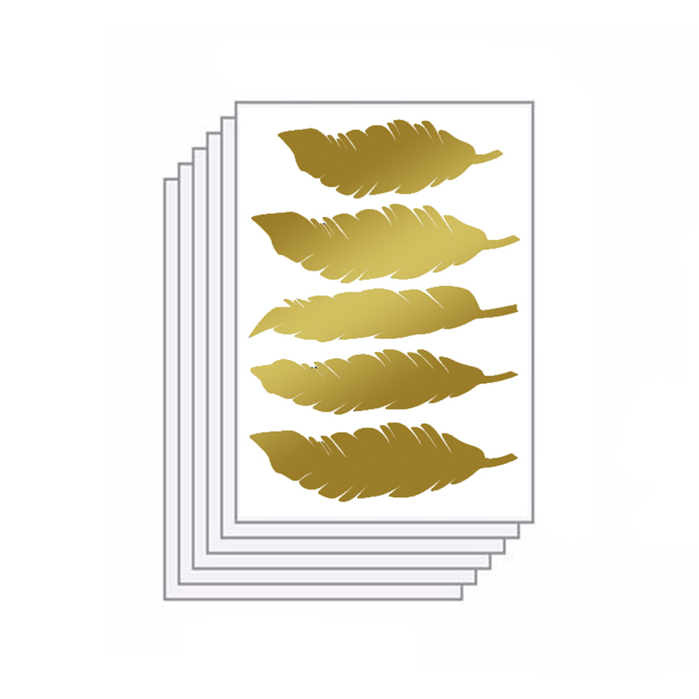 Funlife 1 pack=6sheets 30pcs Glitter Gold , Silver or Bronze Feather ...
