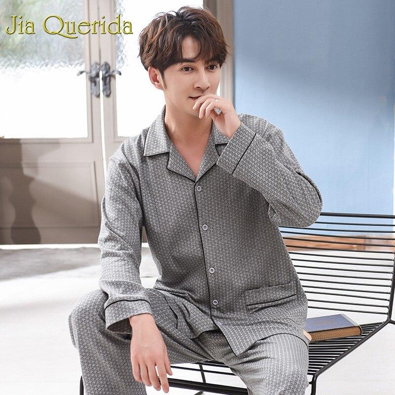 Plus Size Pyjamas For Men 2019 Spring New Lapel Cardigan High Quality 100% Cotton Brand Male Pajamas Plus Size Sleepwear Men Set