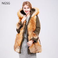 2017 Large Size New Fur Fox Collar Coat With Fur Trim Hood Double Sided Wear Removable