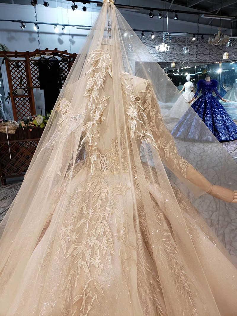LS11555G vestidos de novia de oro vestido con velo de novia de manga larga cuello redondo vestido de novia con tren vestido de casamento
