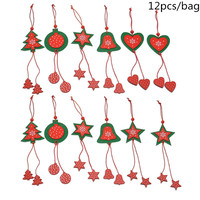 1 Bag Christmas Tree Bells Loving Heart Stars Nonwoven Felt Christmas Pendant Sets Christmas Decotations Free