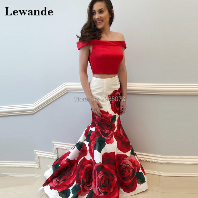 Lewande Bridesmad Floral Print Mermaid Prom Dress Sweep Train Flower