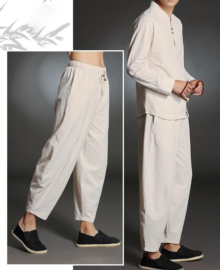 4 colori di alta qualità maschile primavera   estate in puro cotone laici meditazione  abbigliamento outfit yoga si adatta alle uomini uniformi abbigliamento ... c1ce5a2203a