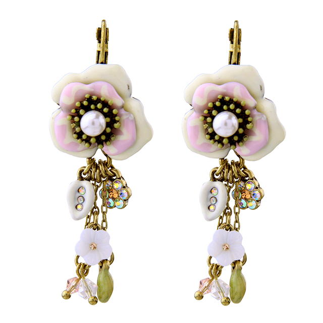 Retro Women Daily Simple Elegant Resin Enamel Flower Earrings Antique Gold Color Stud Online Ping