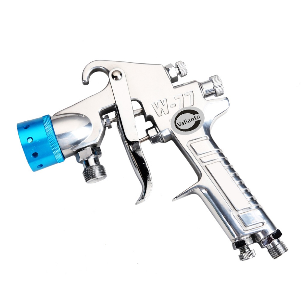 цена на W-77 Spray Gun Pressure Feed Pneumatic Spray Gun Air Painting Tool Sprayer Nozzle Blue/Orange/Silver