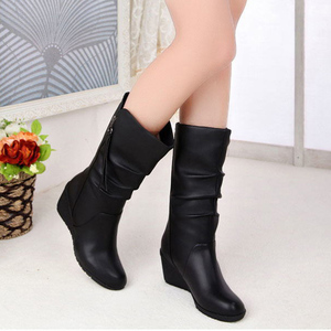 Image 4 - Women Mid Calf Boots Winter Warm Snow Boots Waterproof Pu Leather 6cm High Heel Shoes Woman Platform Wedges Ladies Creepers