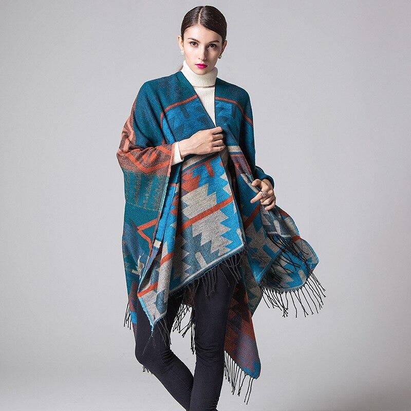 New Women's Travel Scarf Cardigan Poncho Cape Blanket Cloak Wrap Shawl Coat Indian Thickly Imitation Cashmere Tassel Shawl