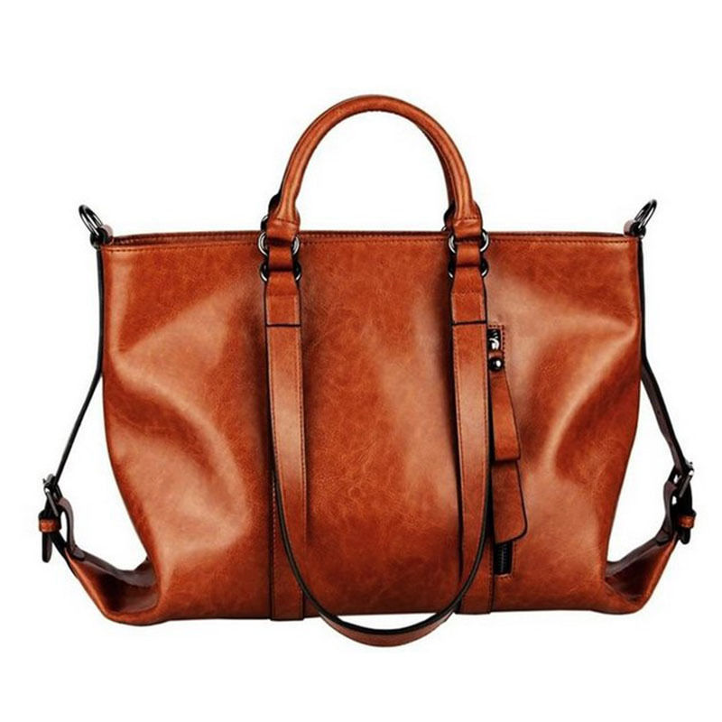 Fashion women Handbag Tote bag Oiled leather handbags 2017 large Lady  female Messenger single shoulder bags brown-in Top-Handle Bags from Luggage    Bags on ... 9f9420a436da7