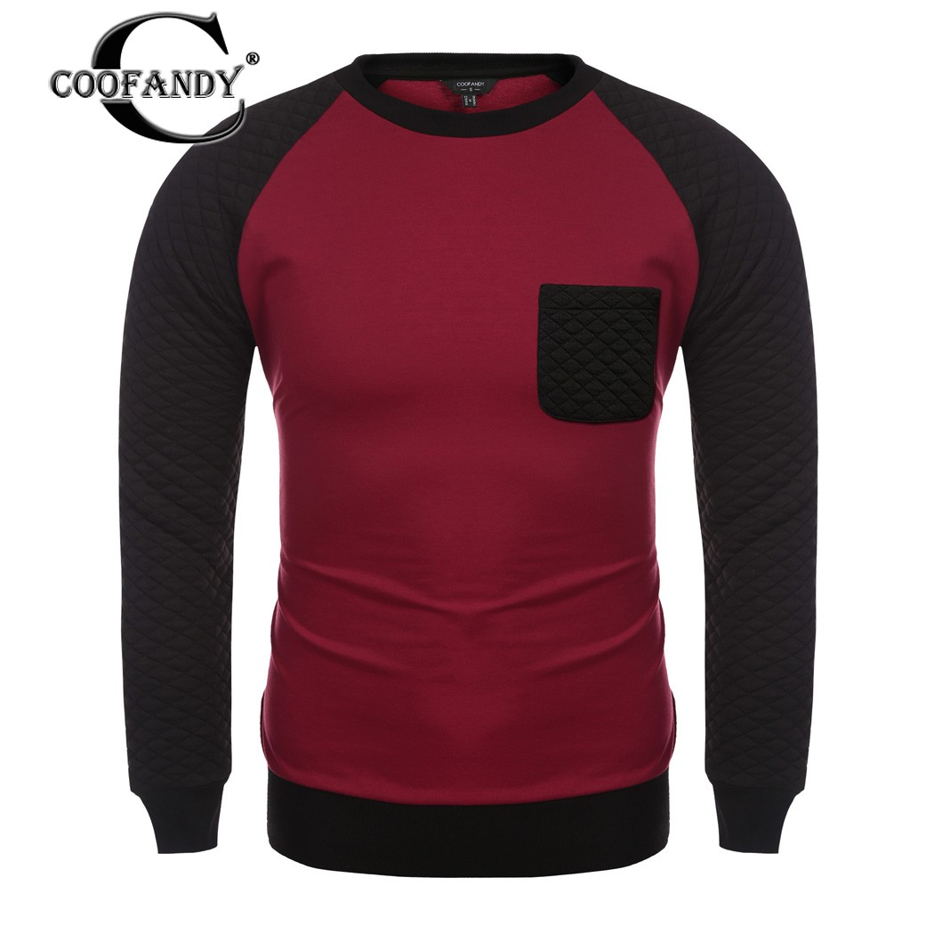COOFANDY New Arrivals Men Casual Raglan Long Sleeve Contrast Color Patchwork Pullover Sweats Sweatshirts Free Shipping