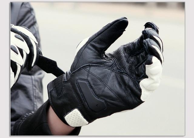 Motorcycle Gloves black Racing Genuine Leather Motorbike white Road Racing Team Glove men summer winter 2